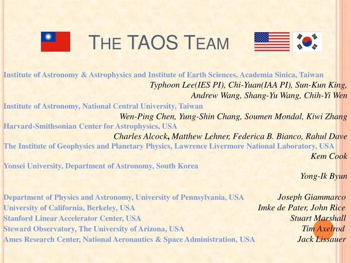 The TAOS Team