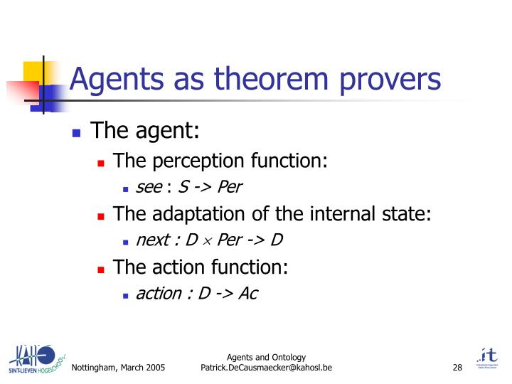 Agents as theorem provers