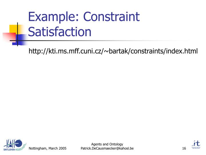 Example: Constraint Satisfaction