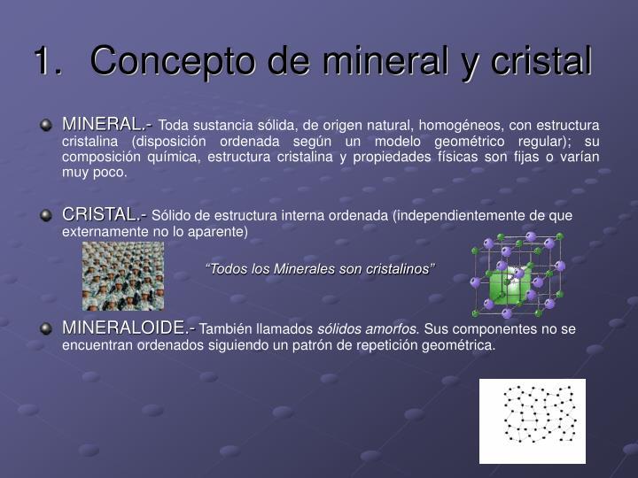 Concepto de mineral y cristal