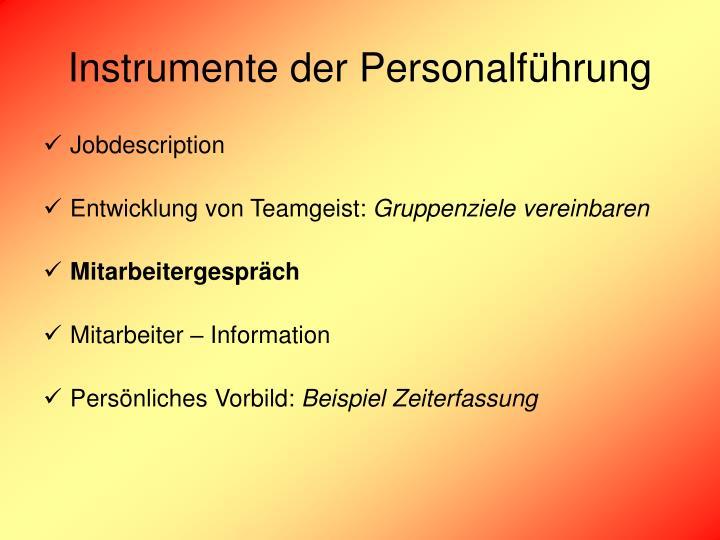 Instrumente der Personalführung