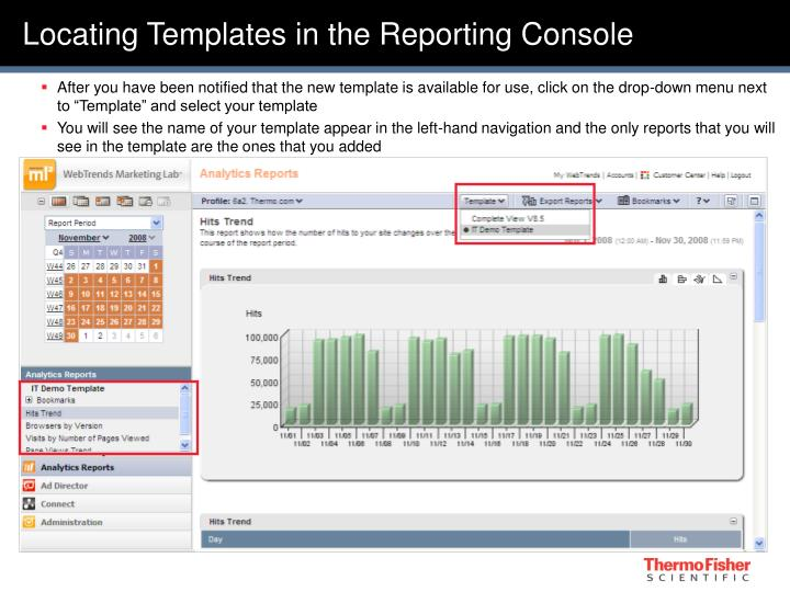Locating Templates in the Reporting Console