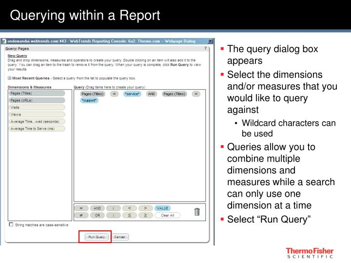 Querying within a Report