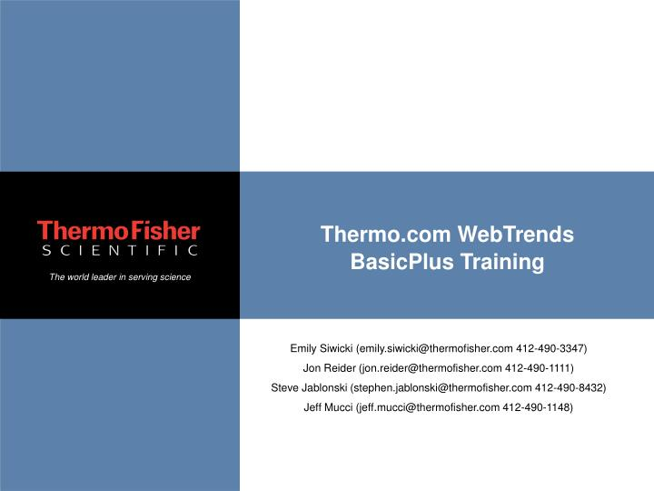 Thermo.com WebTrends BasicPlus Training