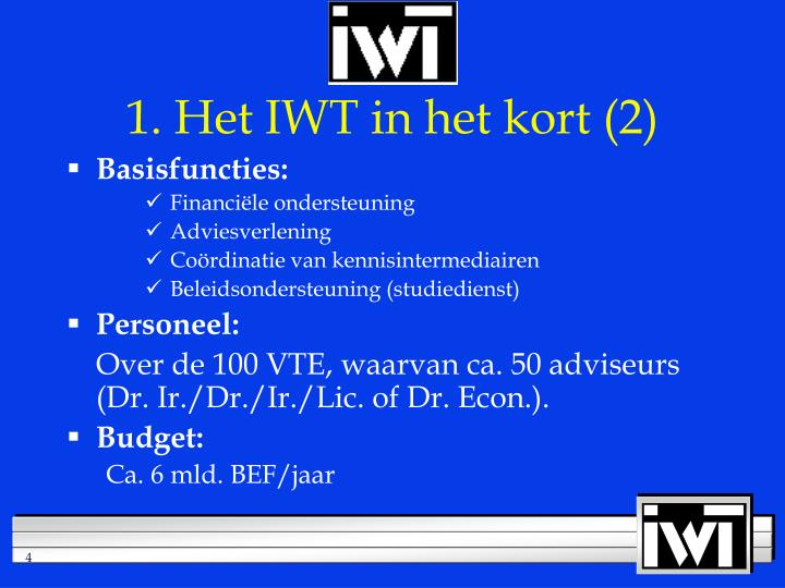 1. Het IWT in het kort (2)
