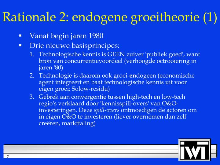 Rationale 2: endogene groeitheorie (1)