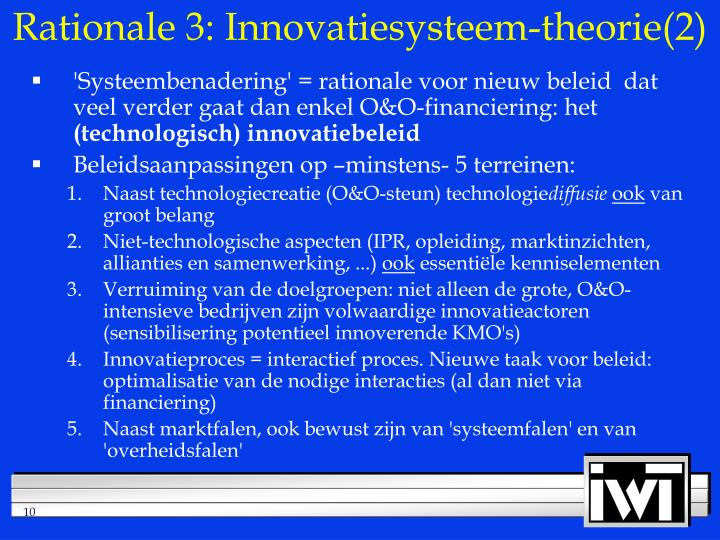 Rationale 3: Innovatiesysteem-theorie(2)