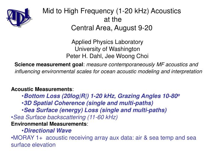 Mid to High Frequency (1-20 kHz) Acoustics