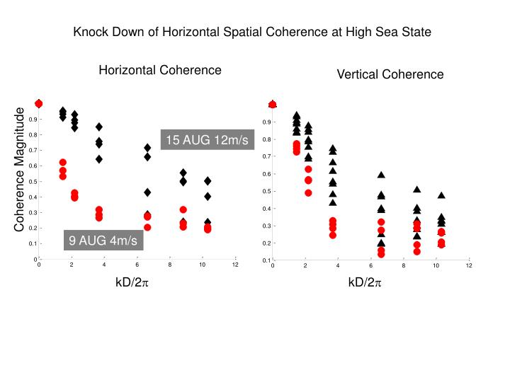 Knock Down of Horizontal Spatial Coherence at High Sea State