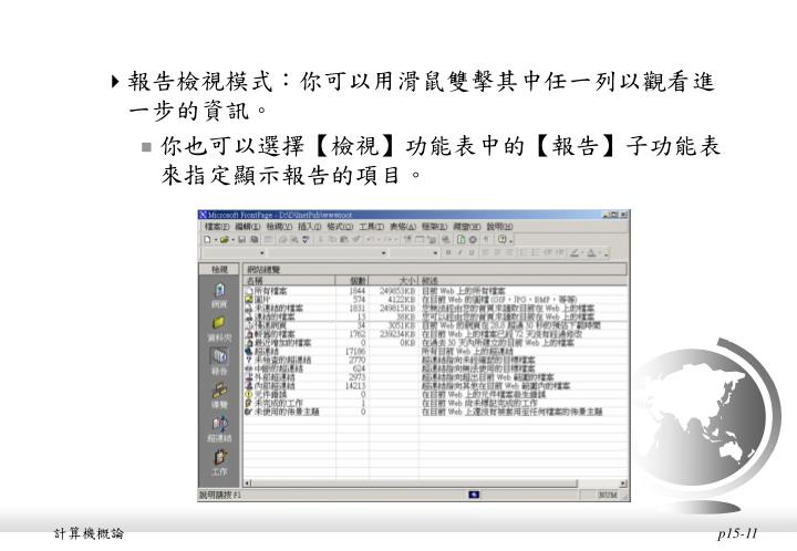 報告檢視模式:你可以用滑鼠雙擊其中任一列以觀看進一步的資訊。