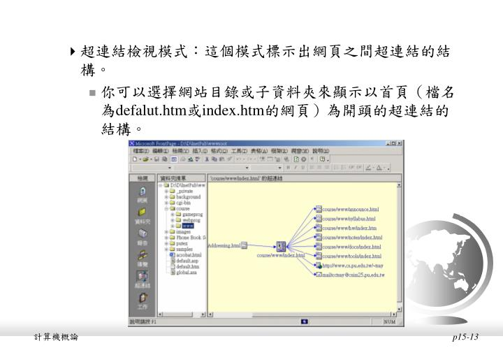 超連結檢視模式:這個模式標示出網頁之間超連結的結構。