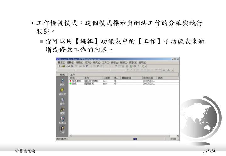 工作檢視模式:這個模式標示出網站工作的分派與執行狀態。