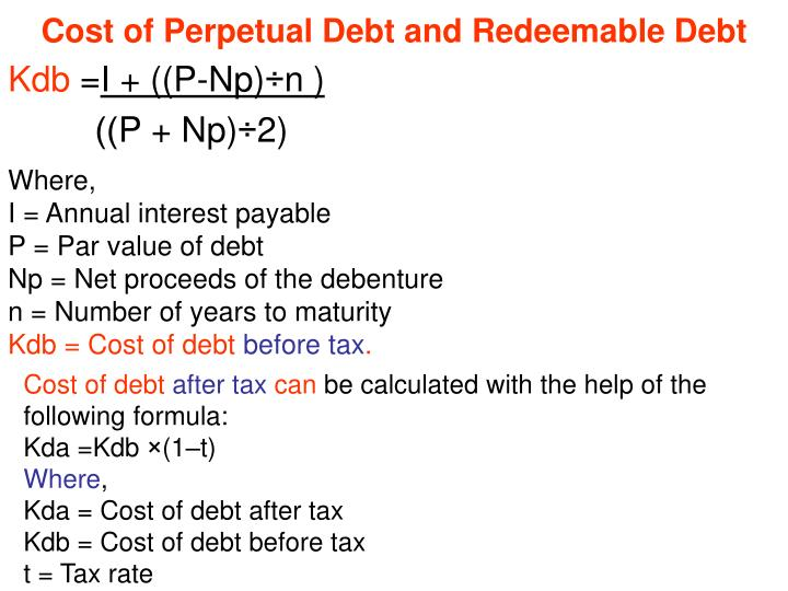 Cost of perpetual debt and redeemable debt