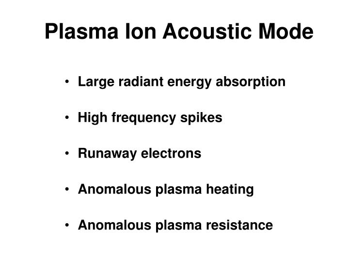 Plasma Ion Acoustic Mode