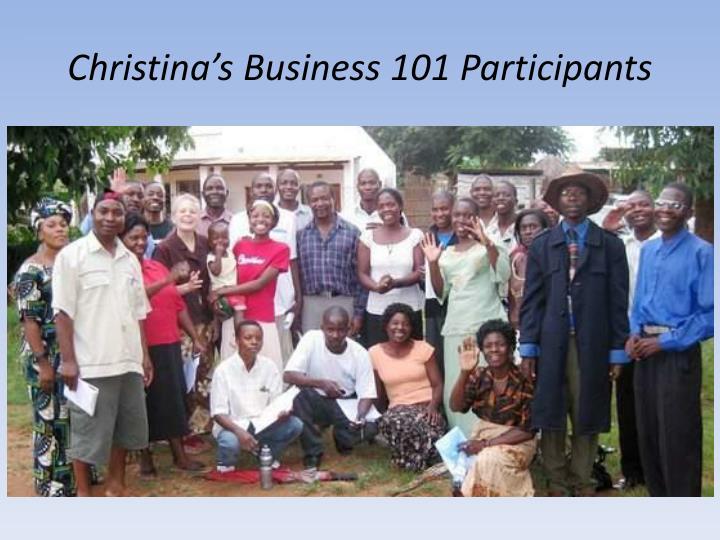 Christina's Business 101 Participants