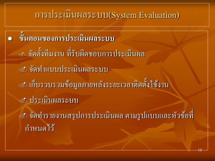 การประเมินผลระบบ(