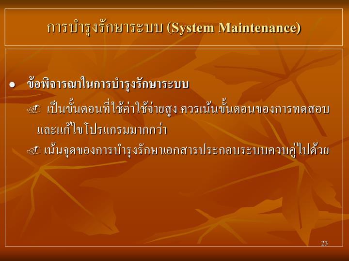 การบำรุงรักษาระบบ (