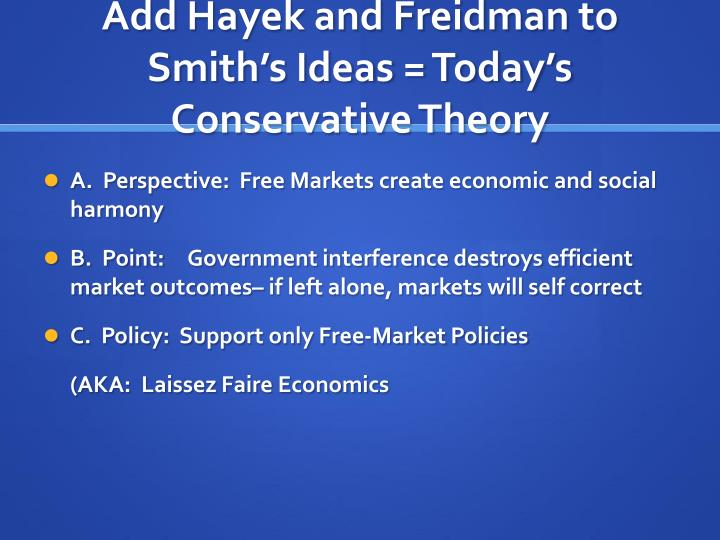 Add Hayek and Freidman to Smith's Ideas = Today's Conservative Theory