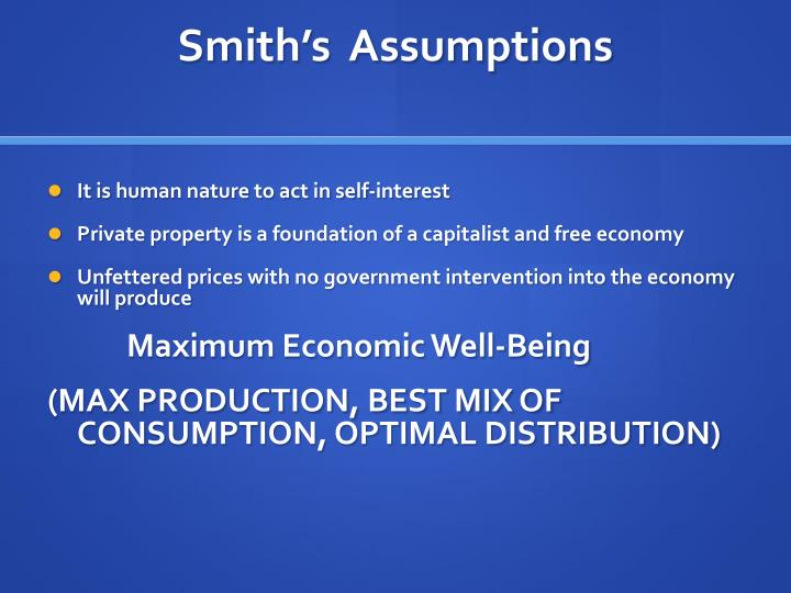 Smith's  Assumptions