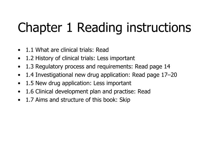 Chapter 1 Reading instructions