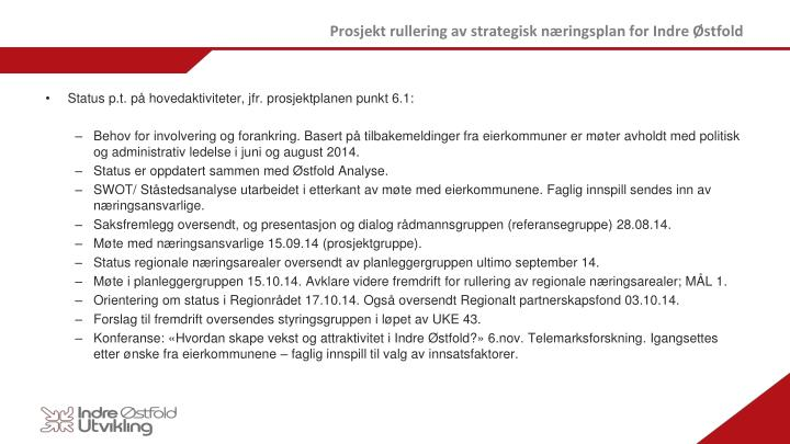 Prosjekt rullering av strategisk næringsplan for Indre Østfold