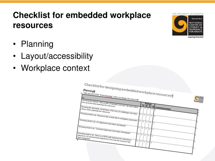Checklist for embedded workplace