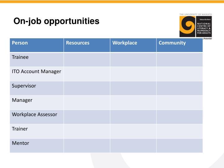 On-job opportunities