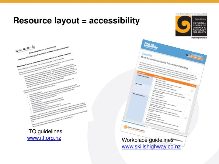 Resource layout = accessibility