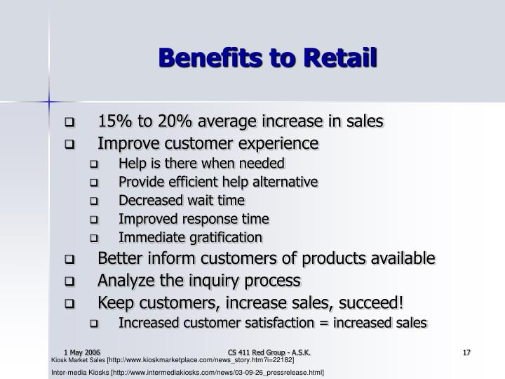 Benefits to Retail