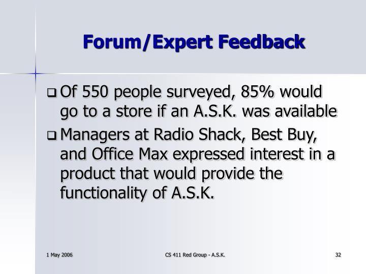 Forum/Expert Feedback