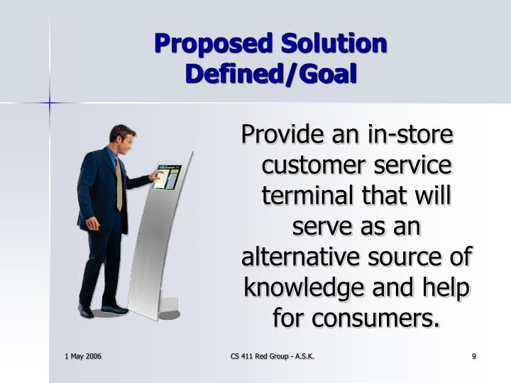 Proposed Solution Defined/Goal