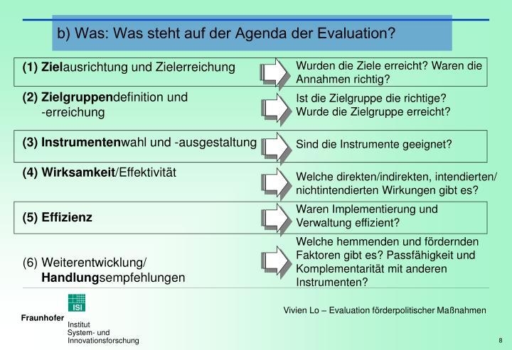 b) Was: Was steht auf der Agenda der Evaluation?