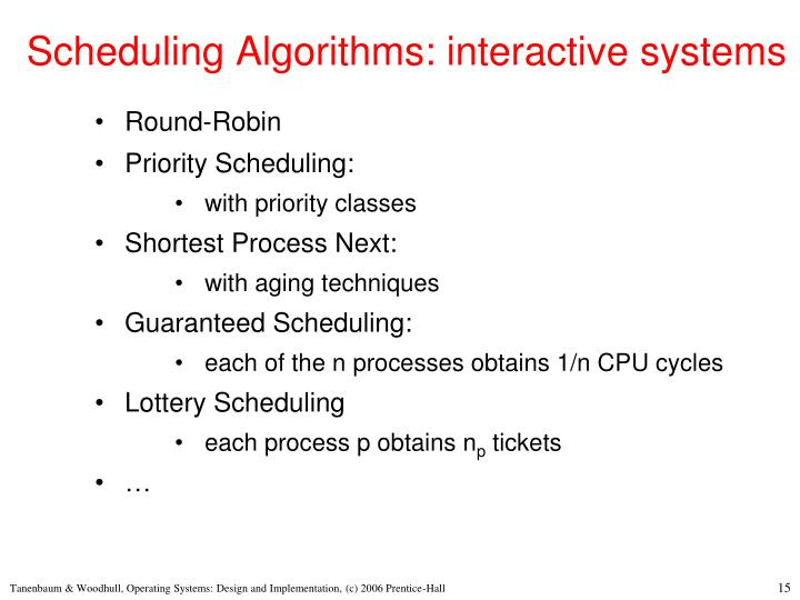 Scheduling Algorithms: interactive systems