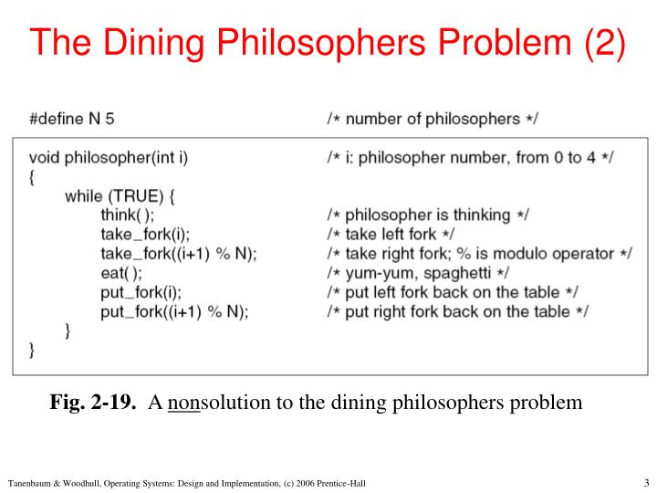 The dining philosophers problem 2