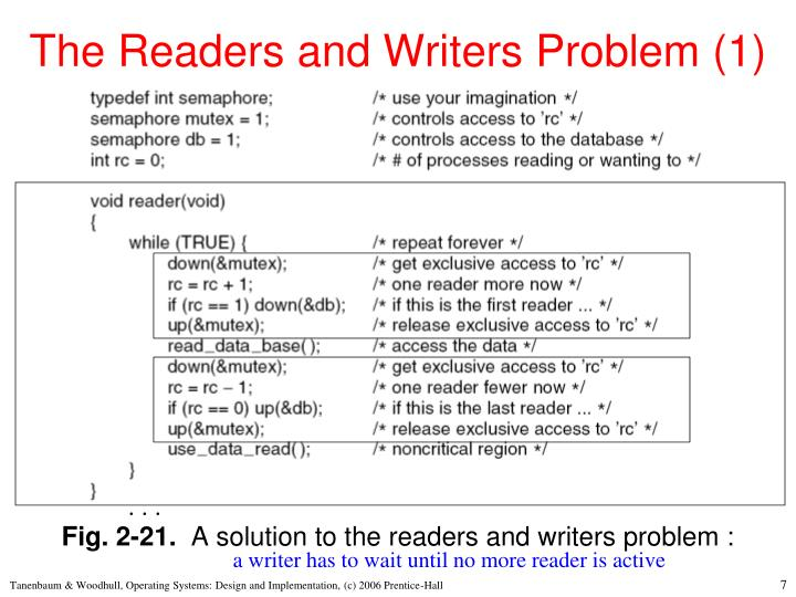The Readers and Writers Problem (1)