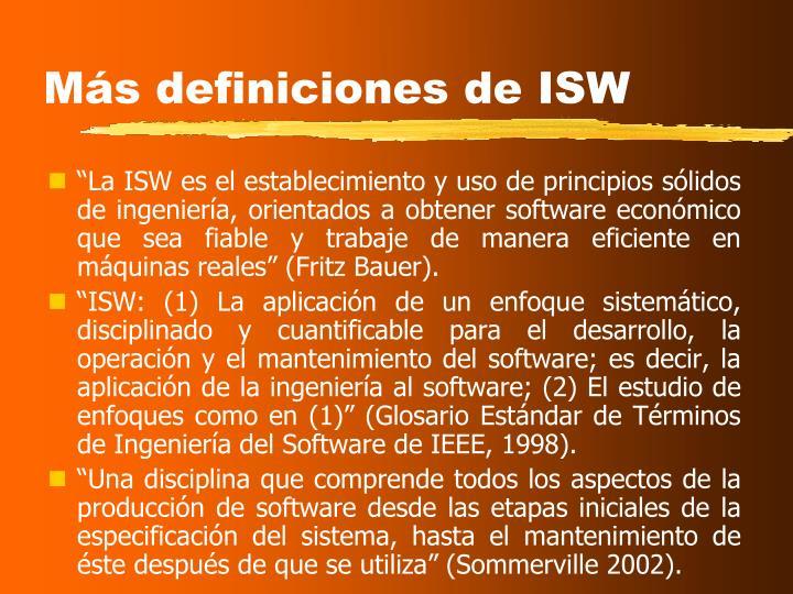 Más definiciones de ISW