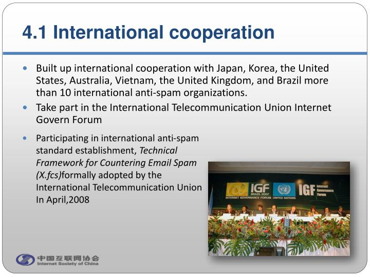 4.1 International cooperation