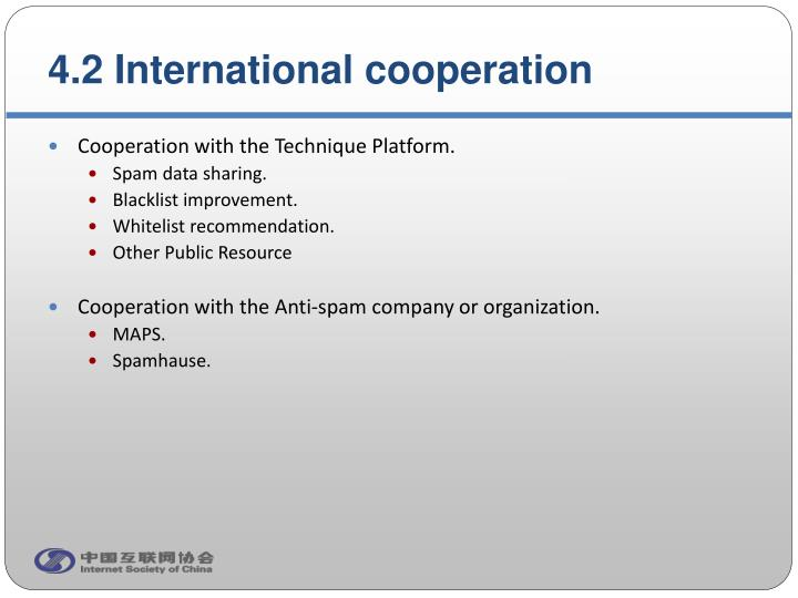 4.2 International cooperation