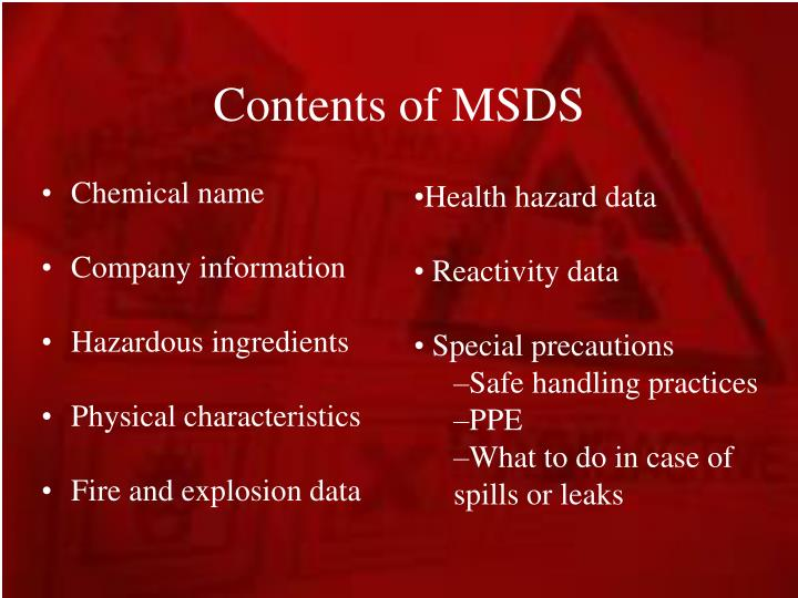 Contents of MSDS