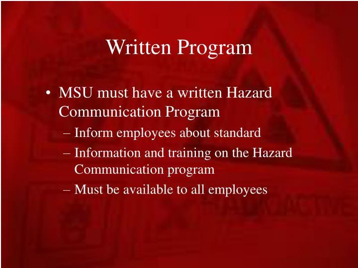 Written Program