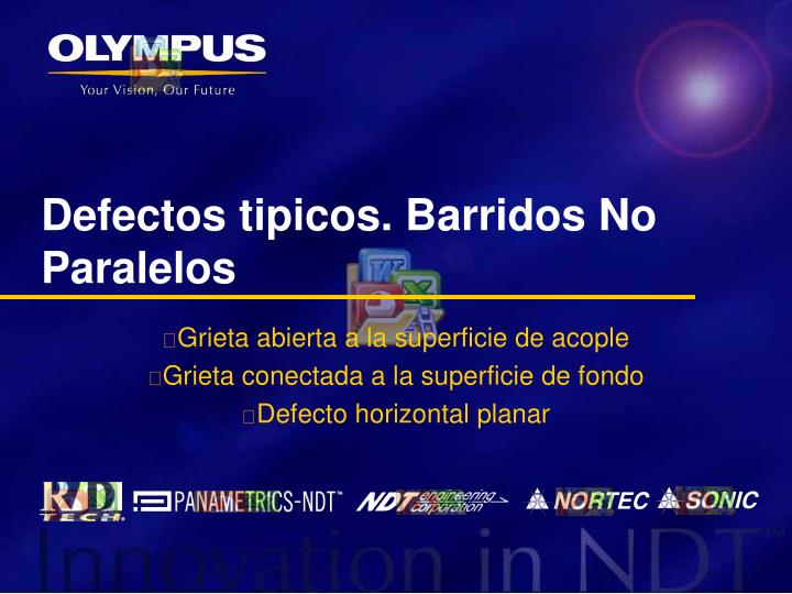 Defectos tipicos. Barridos No Paralelos