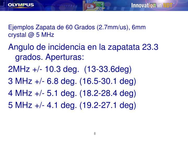 Ejemplos Zapata de 60 Grados (2.7mm/us), 6mm crystal @ 5 MHz
