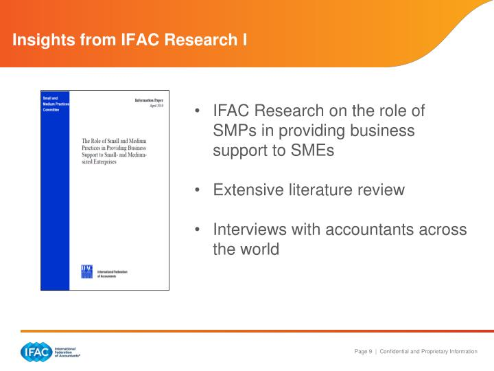 Insights from IFAC Research I