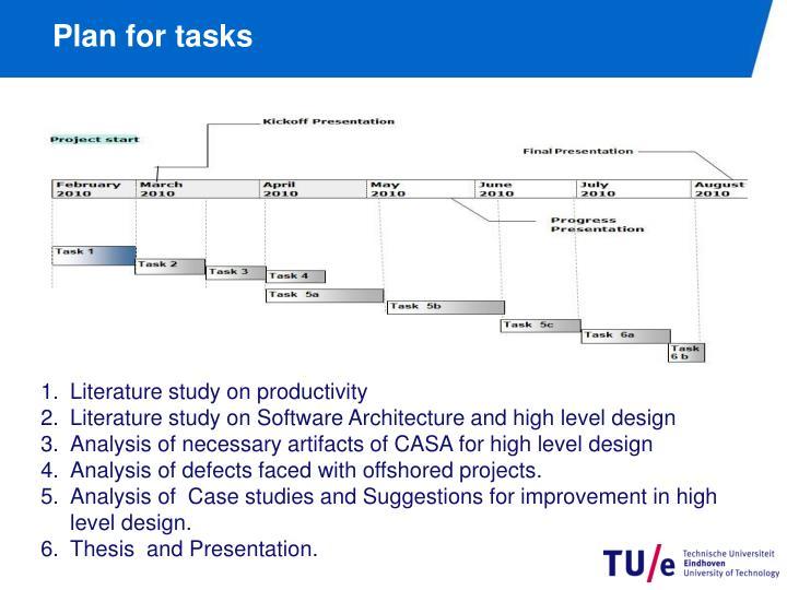 Plan for tasks
