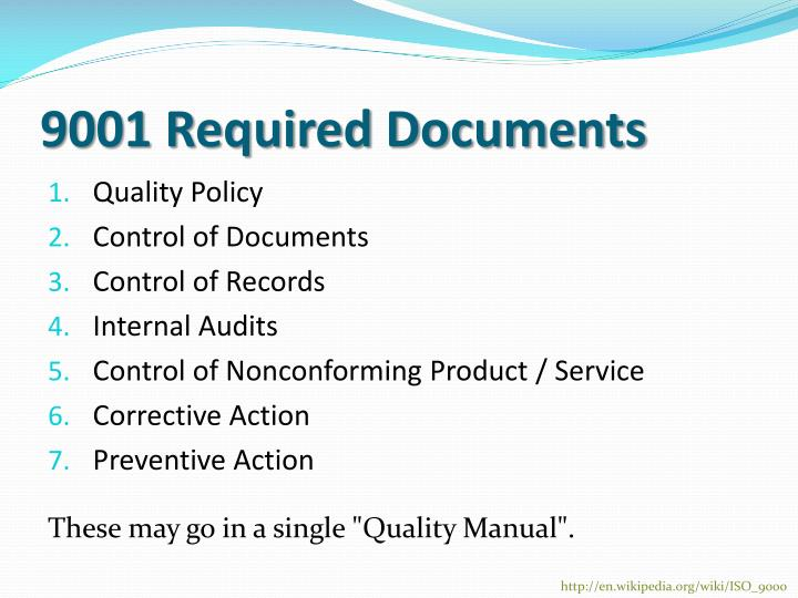 9001 Required Documents