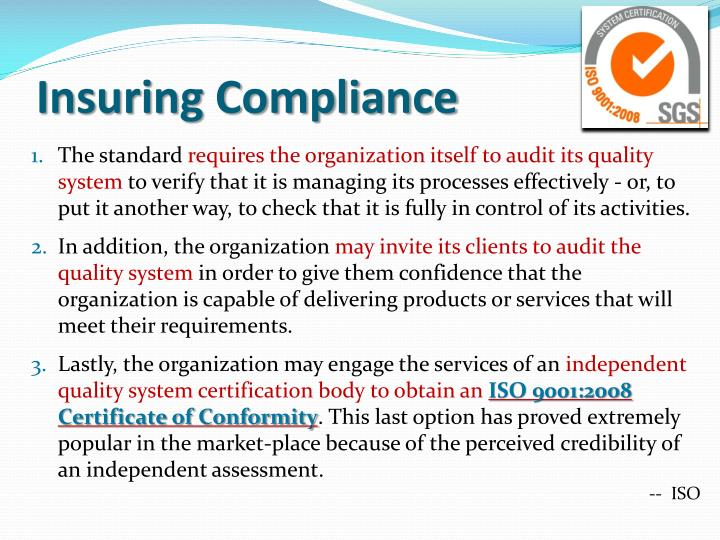 Insuring compliance