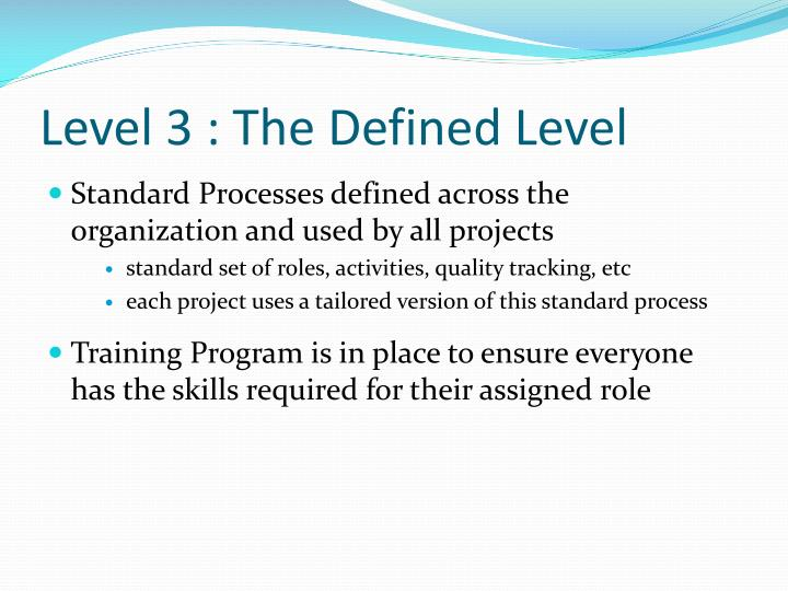 Level 3 : The Defined Level