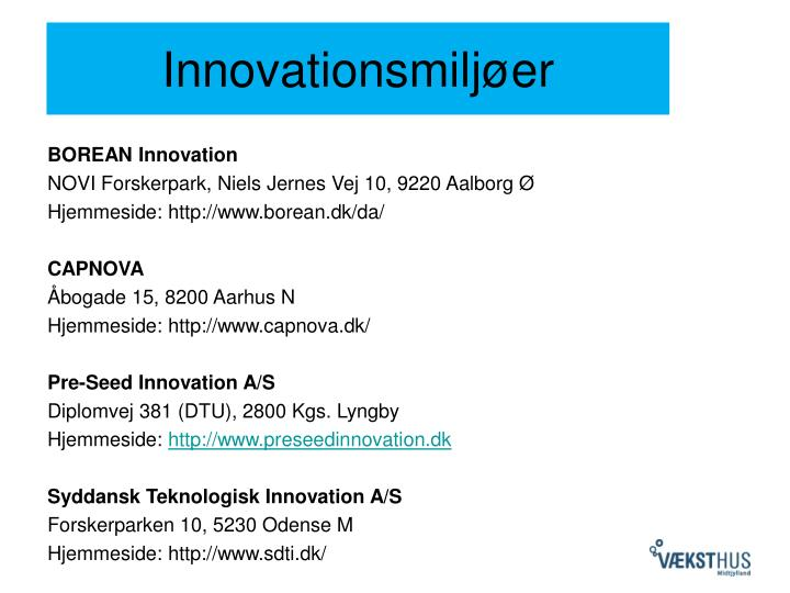 Innovationsmiljøer