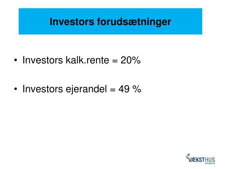 Investors forudsætninger
