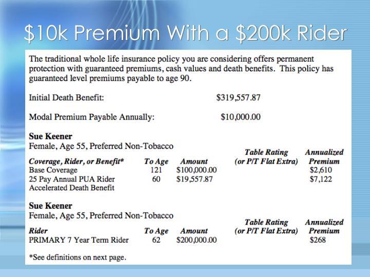 $10k Premium With a $200k Rider